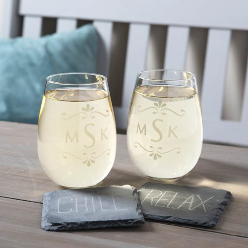 Engraved Wine Glass and Coasters