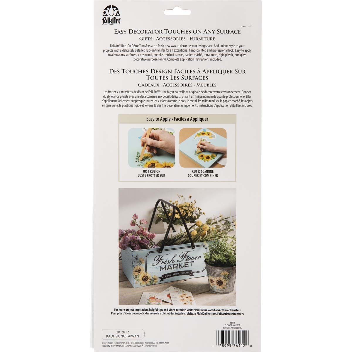 FolkArt ® Rub-On Décor Transfer - Flower Market, 3 pc. - 36112