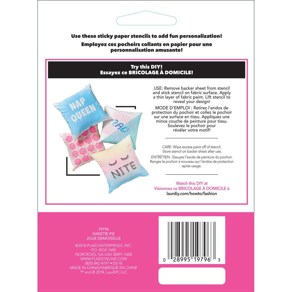 LaurDIY ® Peel & Stick Paper Alphabet Stencils - Sweetie Pie