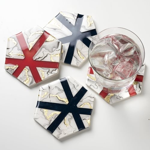 Navy and Coral Marbled Coasters