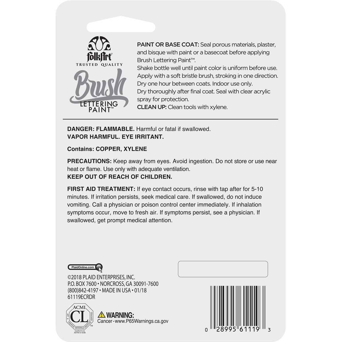 FolkArt ® Brush Lettering Paint - Titanium Silver, 1 oz. - 61119E