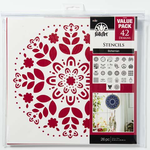 7543db403e41c7 Shop Plaid FolkArt ® Stencil Value Packs - Bohemian