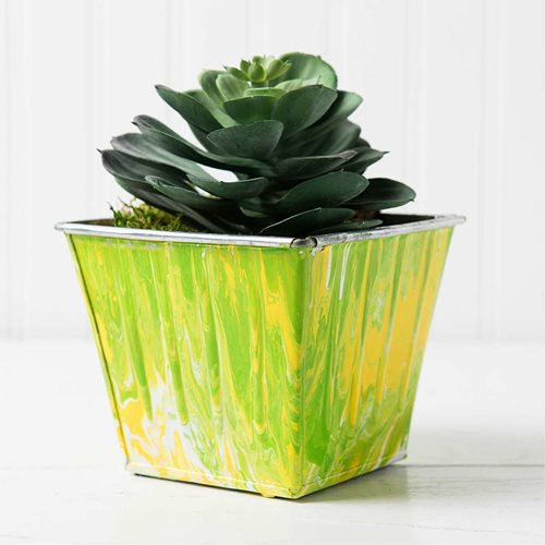 Marbled Metal Planter