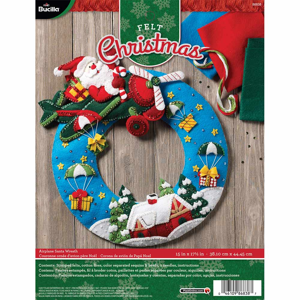 Bucilla ® Seasonal - Felt - Home Decor - Airplane Santa Wreath - 86838