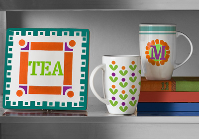 Handmade Charlotte Colorful Fun Cups and Plaque