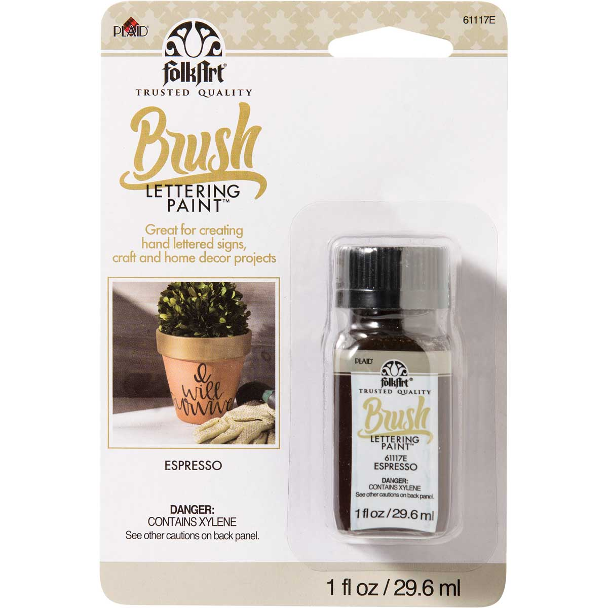 FolkArt ® Brush Lettering Paint - Espresso, 1 oz.