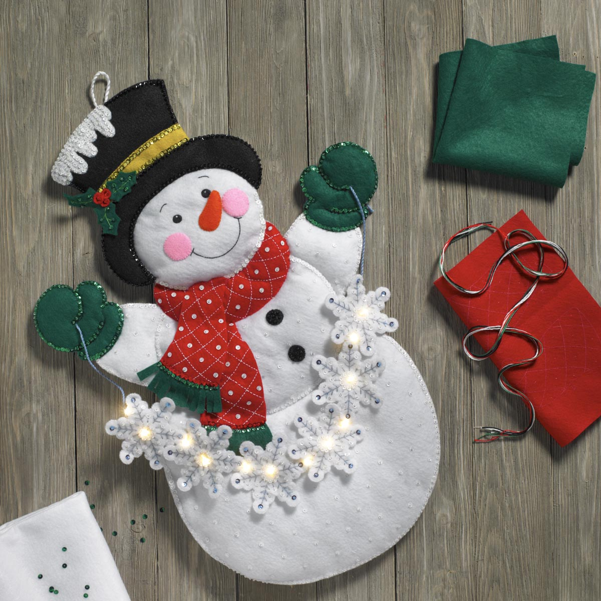 Bucilla ® Seasonal - Felt - Home Decor - Snowman with Snowflakes Wall Hanging with Lights
