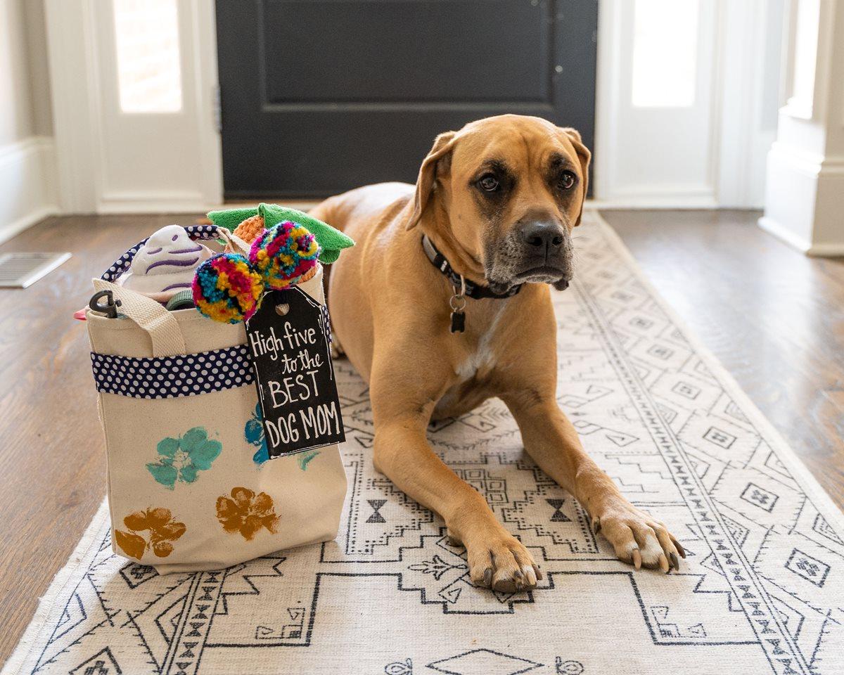 Dog Mom Tote Bag with Paw Prints
