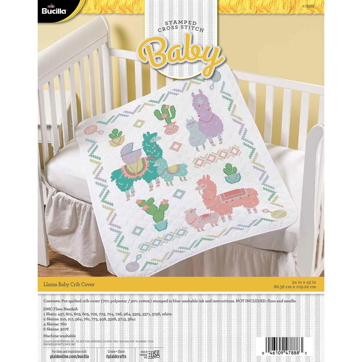 Bucilla ® Baby - Stamped Cross Stitch - Crib Ensembles - Llama Baby - Crib Cover - 47888E