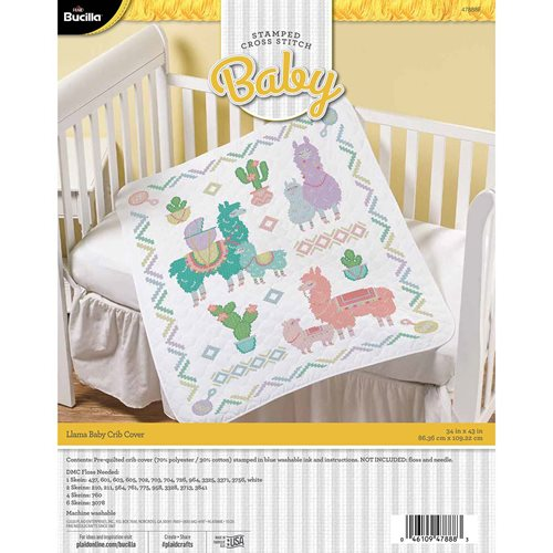 Bucilla ® Baby - Stamped Cross Stitch - Crib Ensembles - Llama Baby - Crib Cover - 47888E