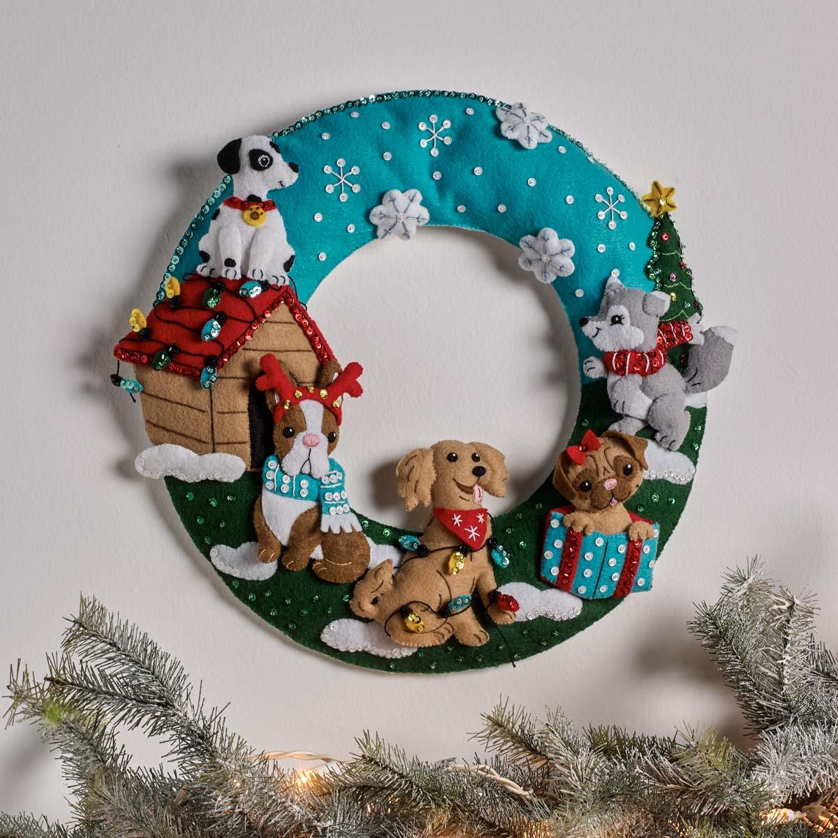 Bucilla ® Seasonal - Felt - Home Decor - Christmas Dogs Wreath - 89284E
