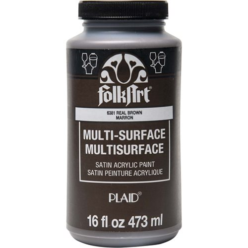 FolkArt ® Multi-Surface Satin Acrylic Paints - Real Brown, 16 oz. - 6381