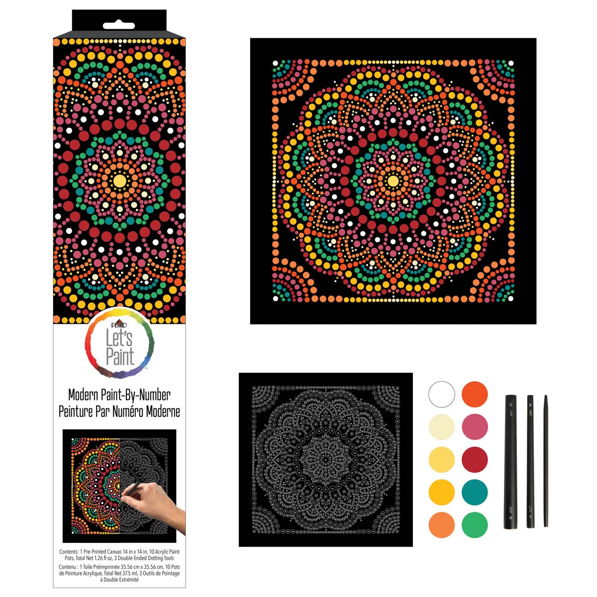 Plaid ® Let's Paint™ Mandala Dot-by-Number - Dot Frame - 17908