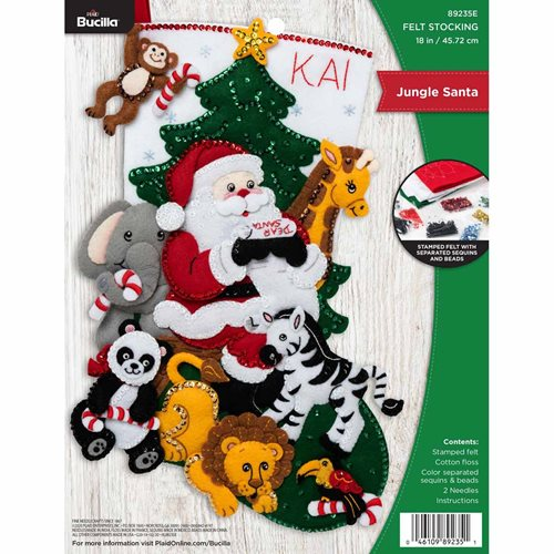 Bucilla ® Seasonal - Felt - Stocking Kits - Jungle Santa - 89235E