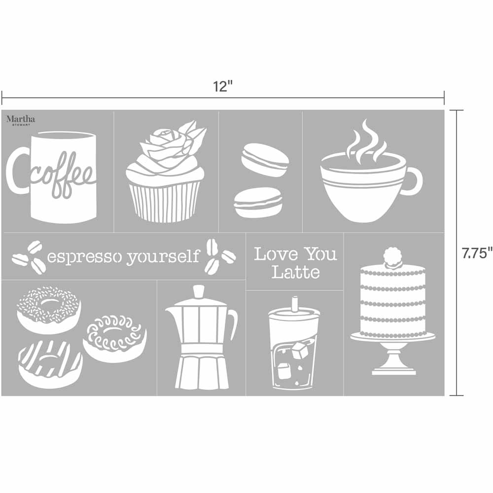 Martha Stewart ® Adhesive Stencil - Coffe and Treats - 5970