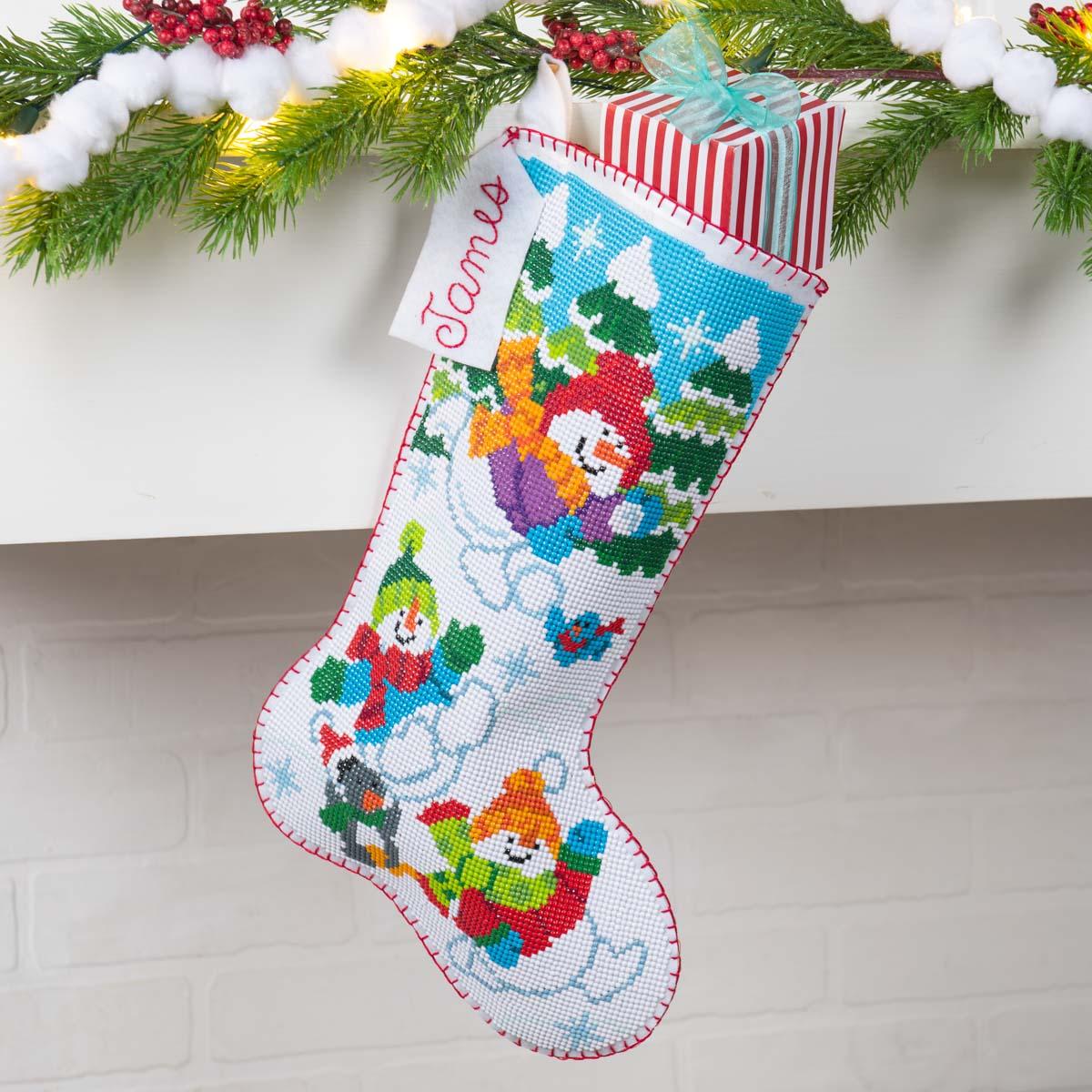 Bucilla ® Seasonal - Gem Dots - Stocking Kits - Sledding Snowman - 89318E