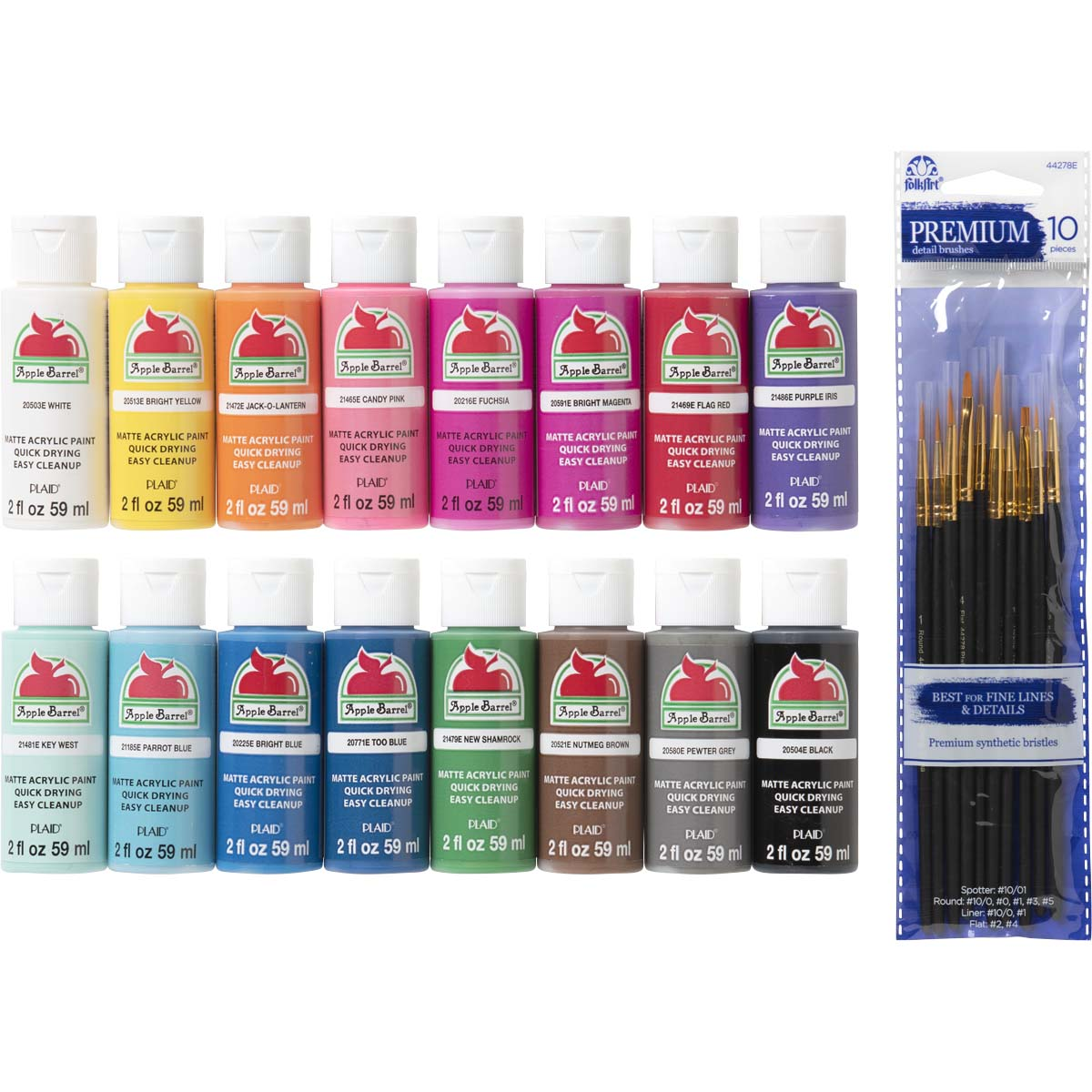 Apple Barrel ® Colors Best Selling Acrylic Paint and Brush Set 26 pc,