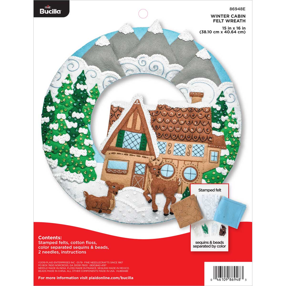 Bucilla ® Seasonal - Felt - Home Decor - Winter Cabin Wreath - 86948E