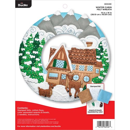Bucilla ® Seasonal - Felt - Home Decor - Winter Cabin Wreath
