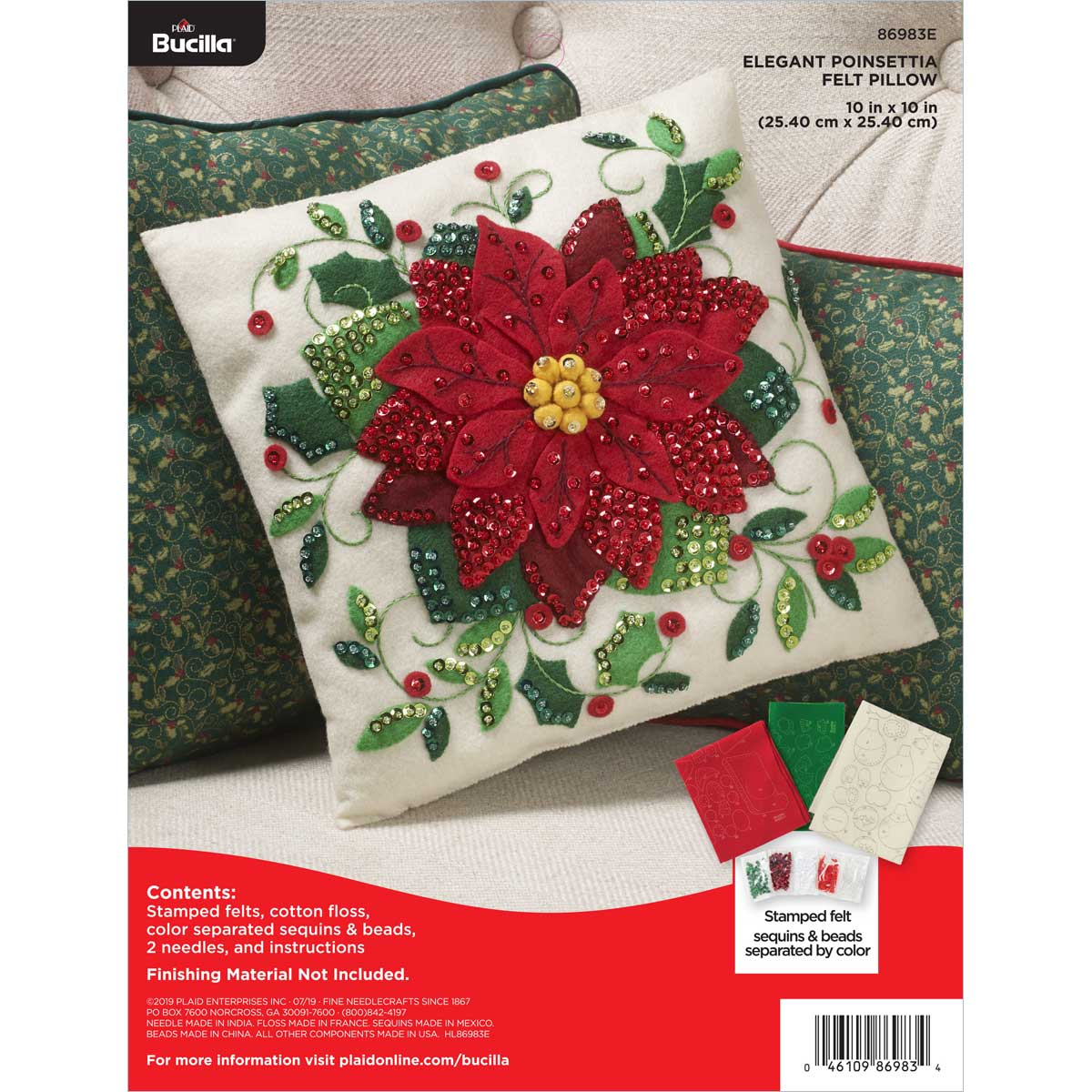Bucilla ® Seasonal - Felt - Home Decor - Pillow - Elegant Poinsettia