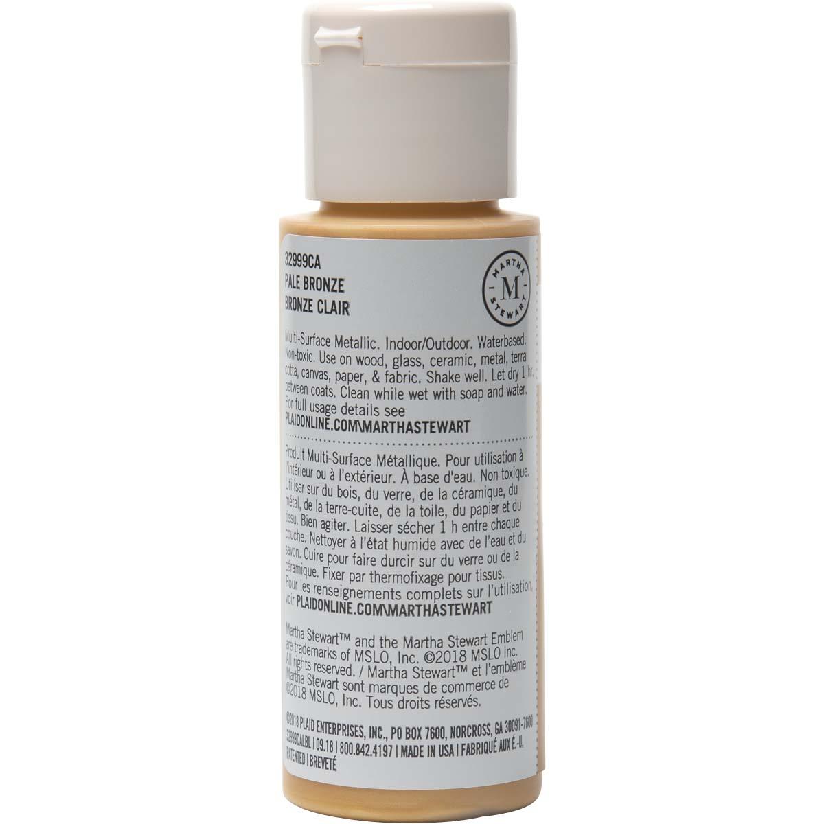 Martha Stewart ® Multi-Surface Metallic Acrylic Craft Paint - Pale Bronze, 2 oz. - 32999CA