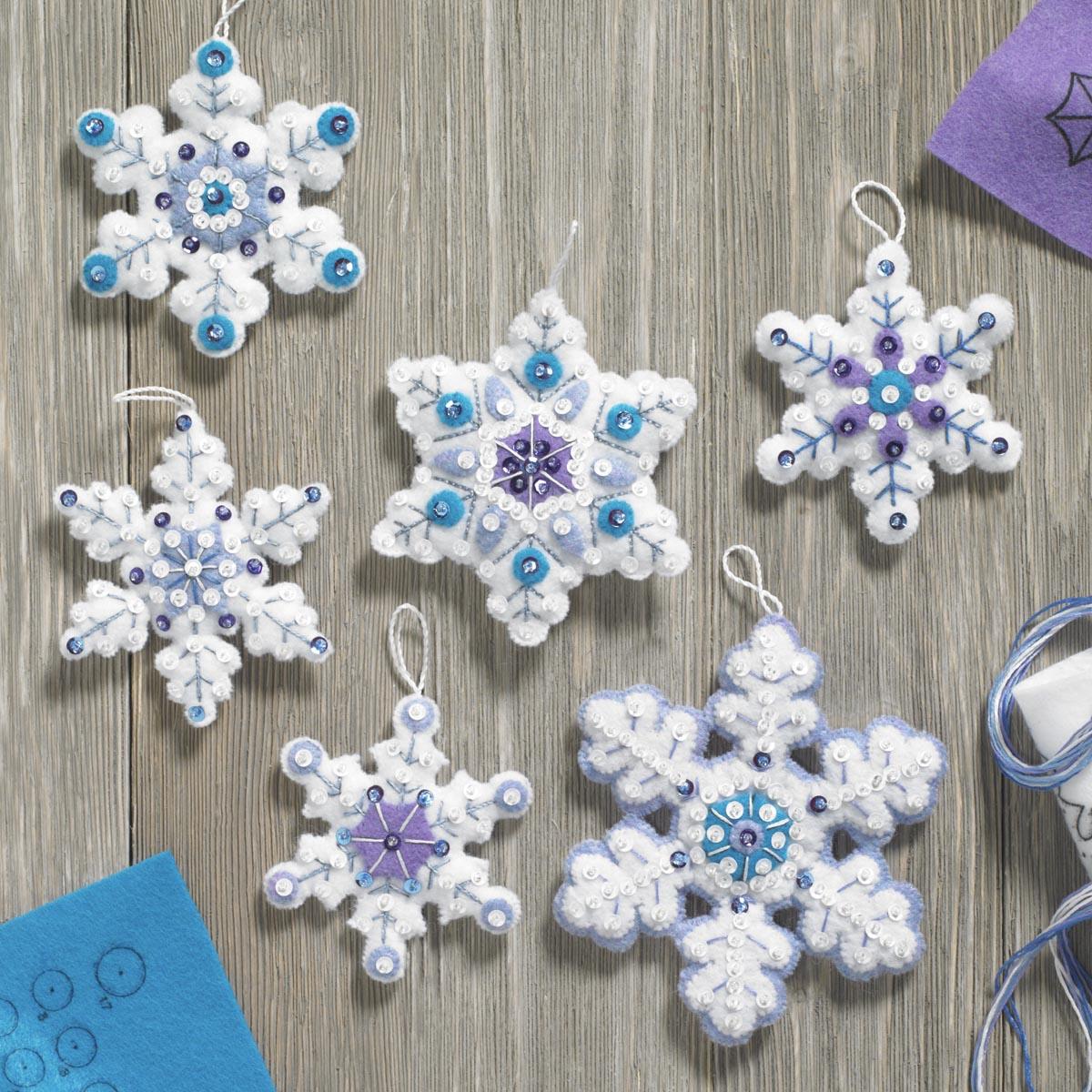 Bucilla ® Seasonal - Felt - Ornament Kits - Sparkle Snowflakes