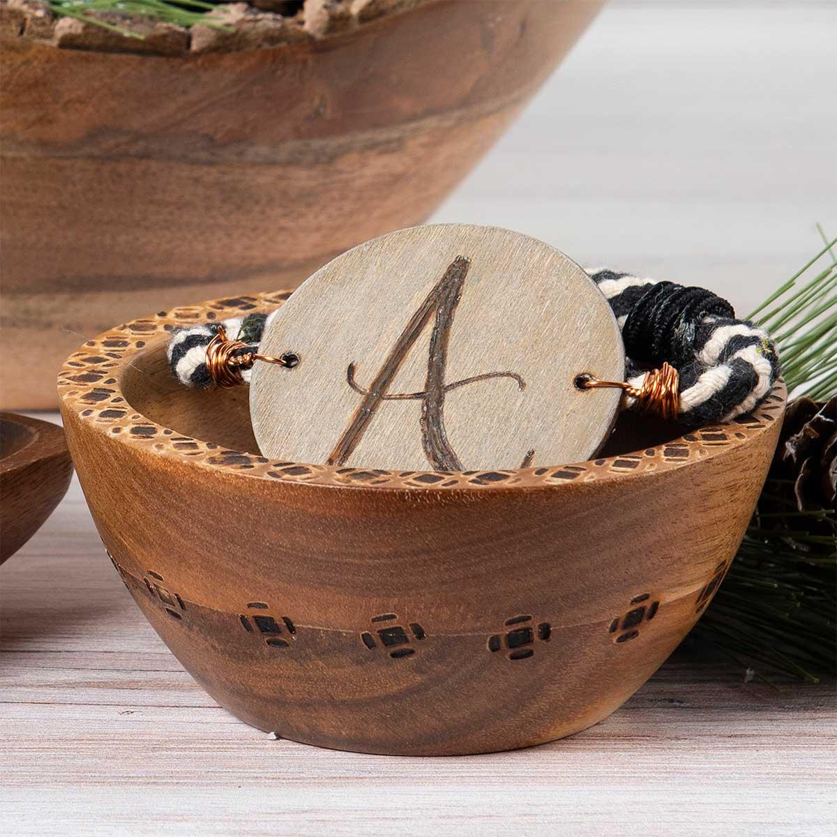 DIY Wood Burned Monogram Bracelet