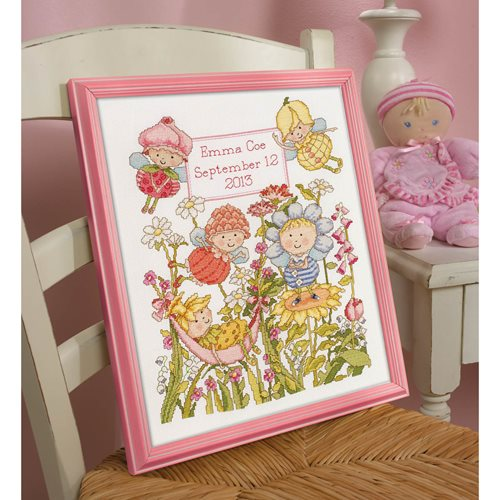 Bucilla ® Baby - Counted Cross Stitch - Crib Ensembles - Garden Fairies - Birth Record Kit