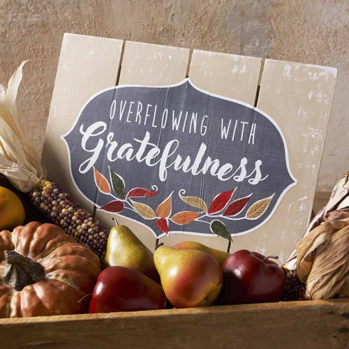 """Overflowing with Gratefulness"" Autumn Decor"