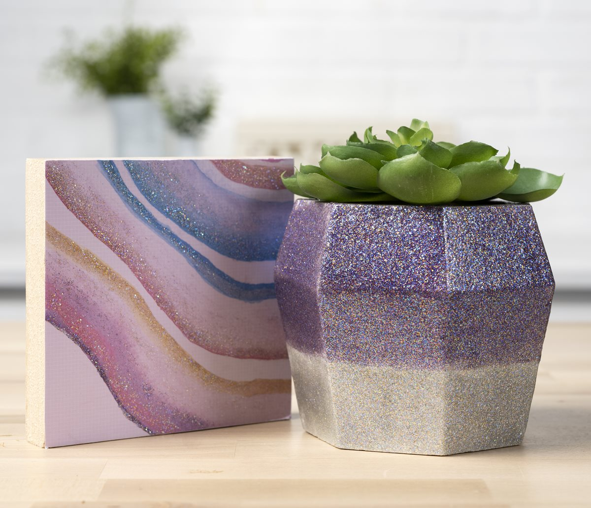Purple and Silver Glittered Planter & Geode Canvas