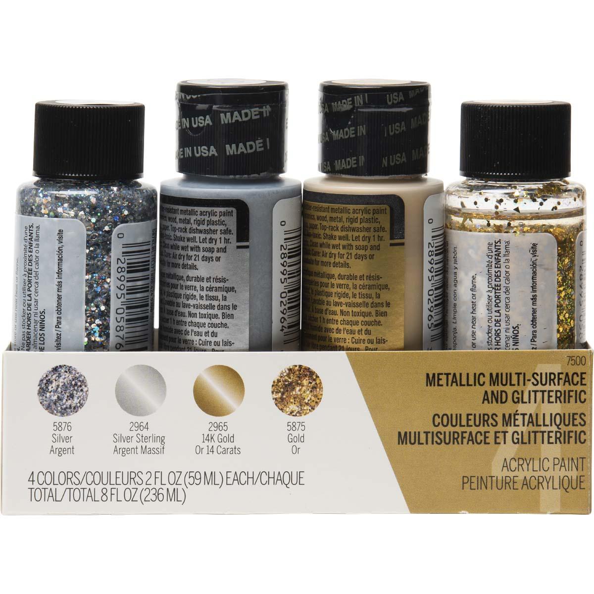 FolkArt ® Multi-Surface Metallic and Glitterific™ Paint Set 4 Color - 7500