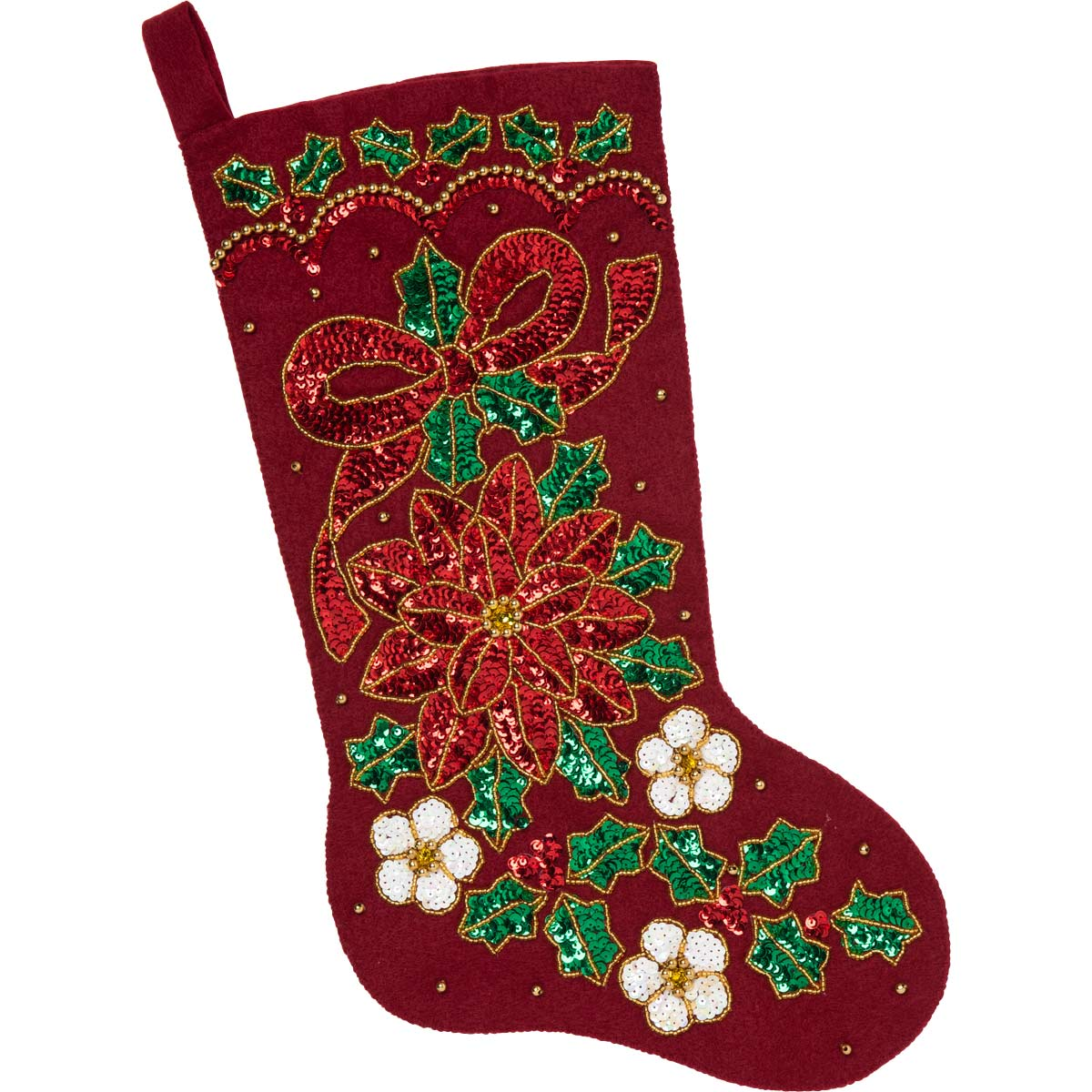 Bucilla ® Seasonal - Felt - Stocking Kits - Glitzy Poinsettia - 89069E