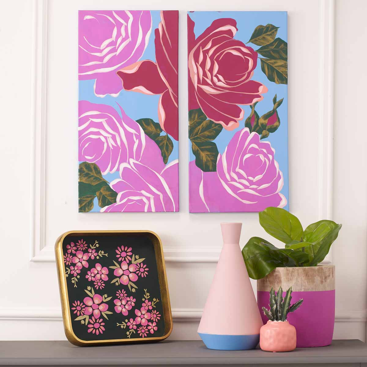 Rose Canvas Diptych