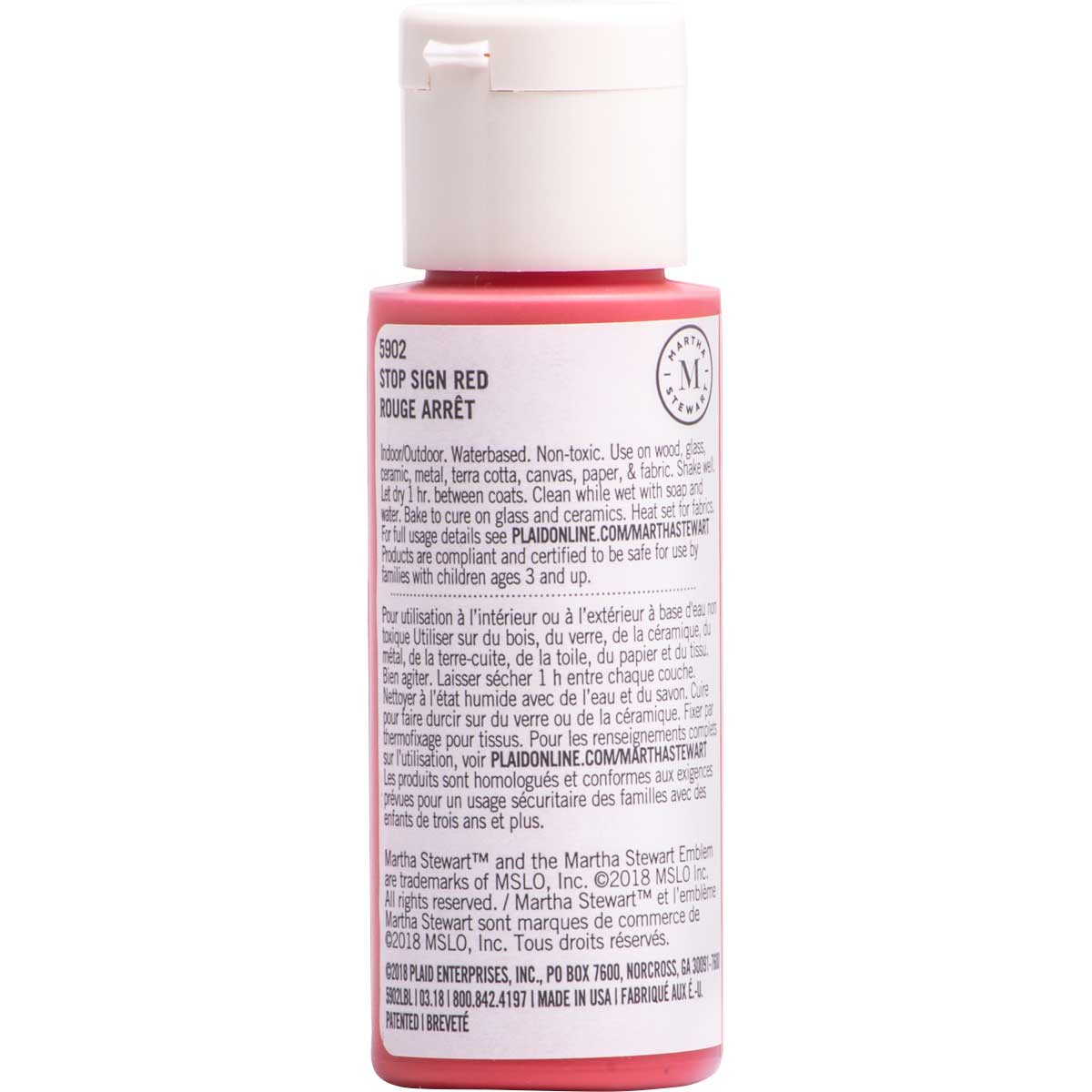 Martha Stewart ® Multi-Surface Satin Acrylic Craft Paint CPSIA - Stop Sign Red, 2 oz. - 5902