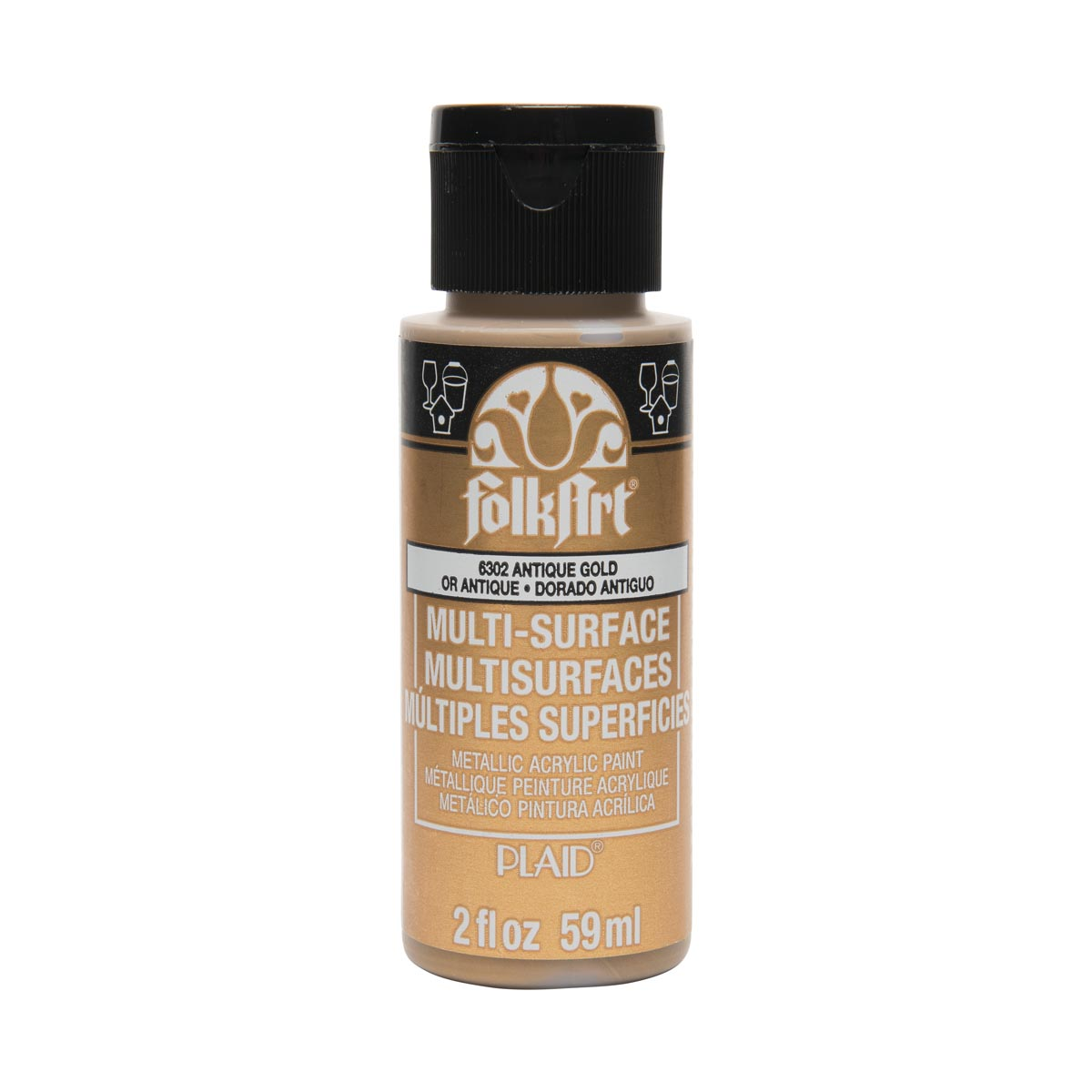 FolkArt ® Multi-Surface Metallic Acrylic Paints - Anitque Gold, 2 oz.