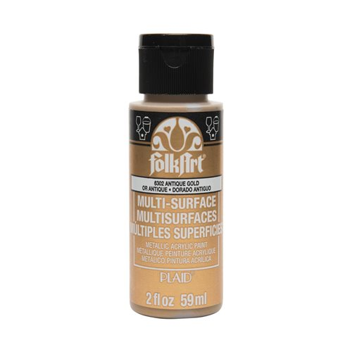FolkArt ® Multi-Surface Metallic Acrylic Paints - Anitque Gold, 2 oz. - 6302