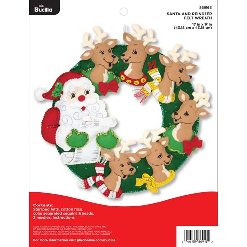 Bucilla ® Seasonal - Felt - Home Decor - Santa and Reindeer Wreath - 86916E