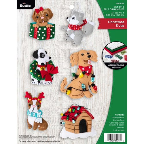 Bucilla ® Seasonal - Felt - Ornament Kits - Christmas Dogs - 89283E