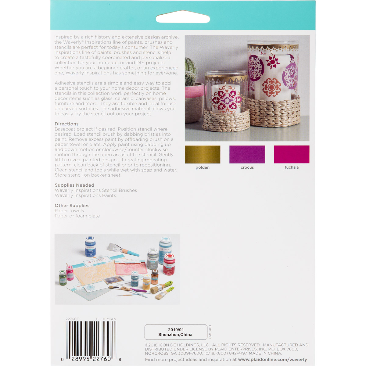 Waverly ® Inspirations Laser-cut Adhesive Stencils - Bohemian, 6