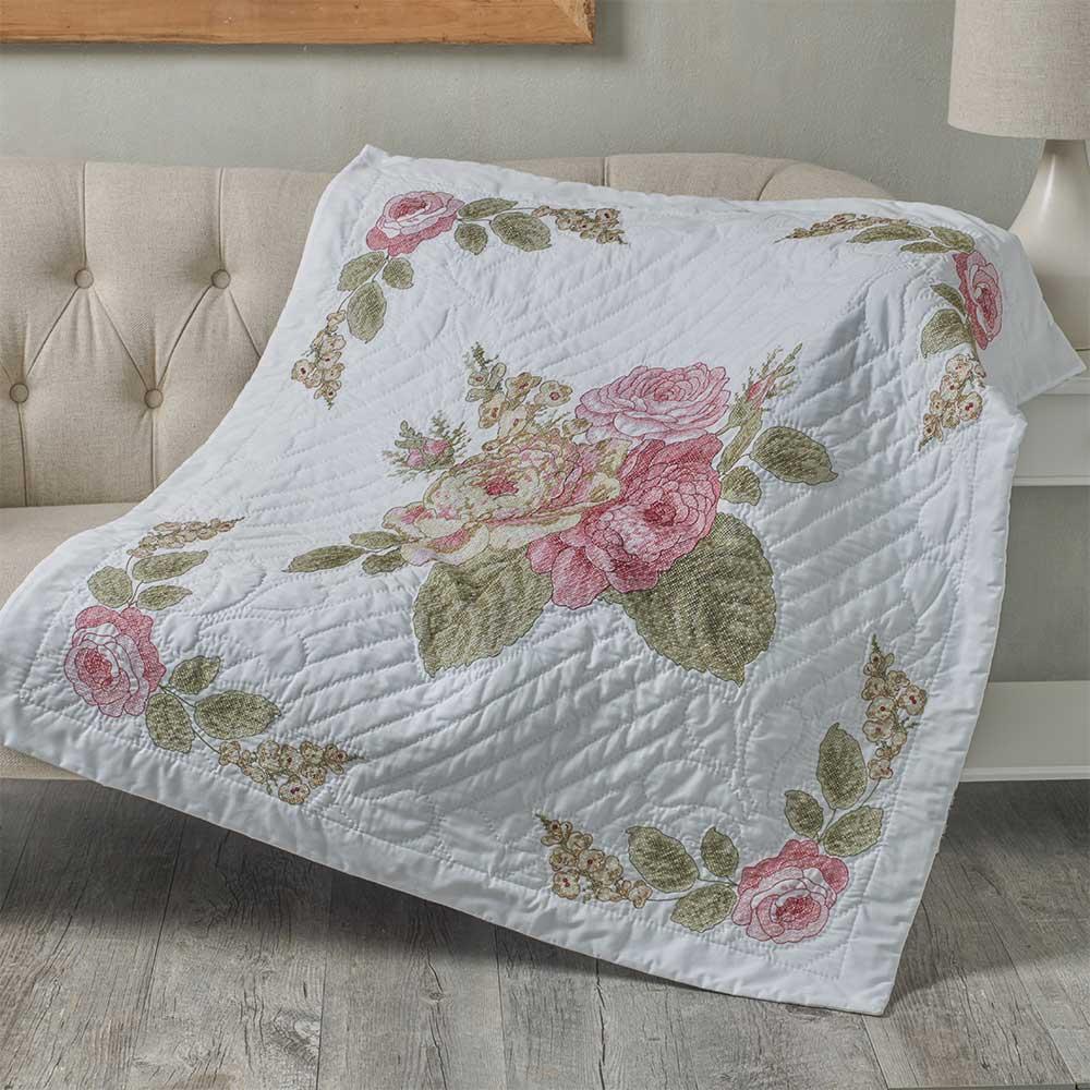 Bucilla ® Waverly ® Emma's Garden Collection Stamped Lap Quilt