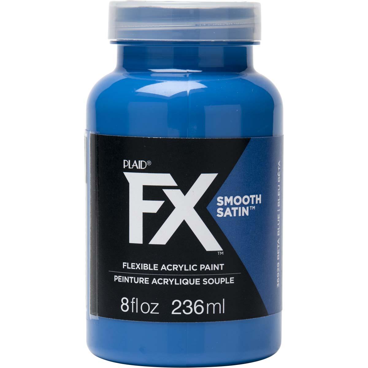PlaidFX Smooth Satin Flexible Acrylic Paint - Beta Blue, 8 oz. - 36929