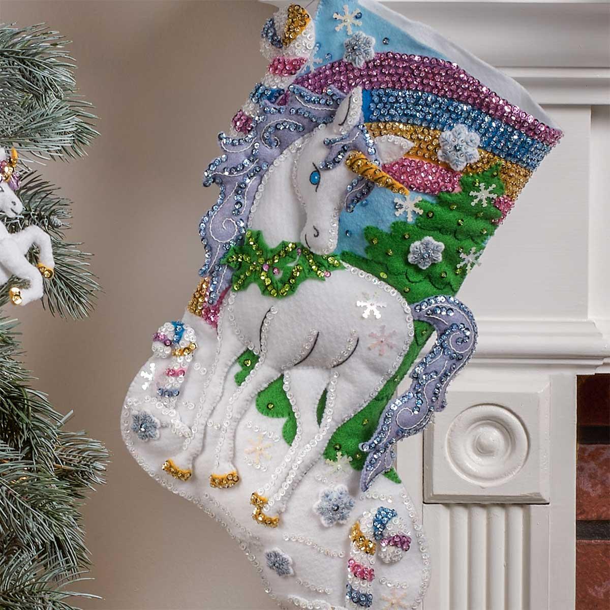 Bucilla ® Seasonal - Felt - Stocking Kits - Santa's Unicorn - 89250E