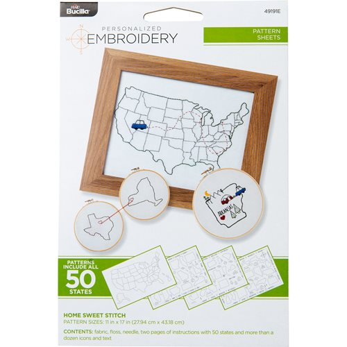 Bucilla ® Embroidery Pattern Sheets - Home Sweet Stitch Kit - 49191E