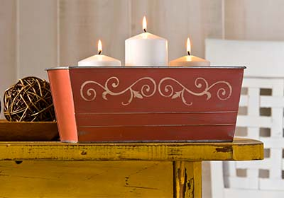 Stenciled Tin Container with FolkArt Home Decor Chalk