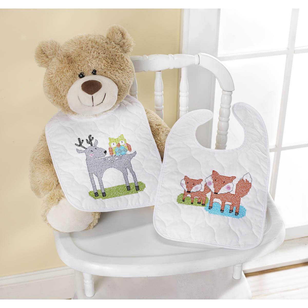 Bucilla ® Baby - Stamped Cross Stitch - Crib Ensembles - BFF - Bib Pair Kit