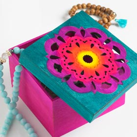 Multi-Color Wood Decorated Jewelry Box