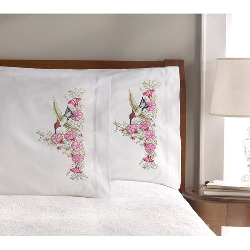Bucilla ® Stamped Cross Stitch & Embroidery - Pillowcase Pairs - Hummingbird Floral