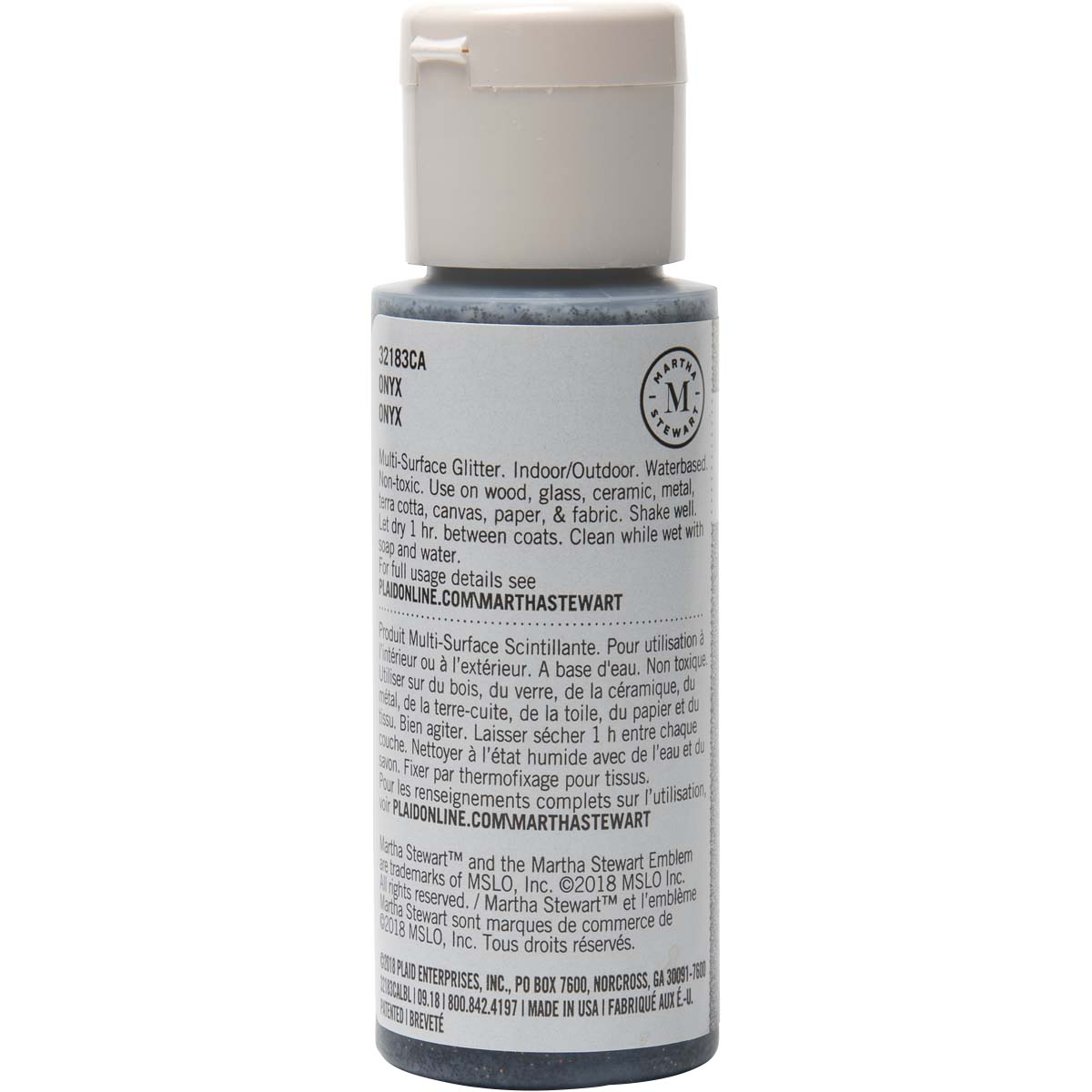 Martha Stewart® 2oz Multi-Surface Glitter Acrylic Craft Paint - Onyx