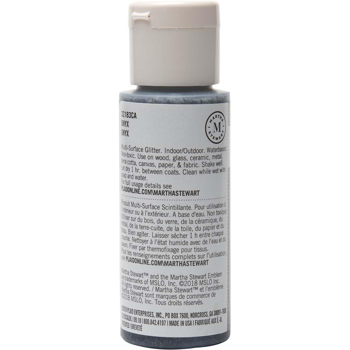 Martha Stewart ® Multi-Surface Glitter Acrylic Craft Paint - Onyz, 2 oz. - 32183CA