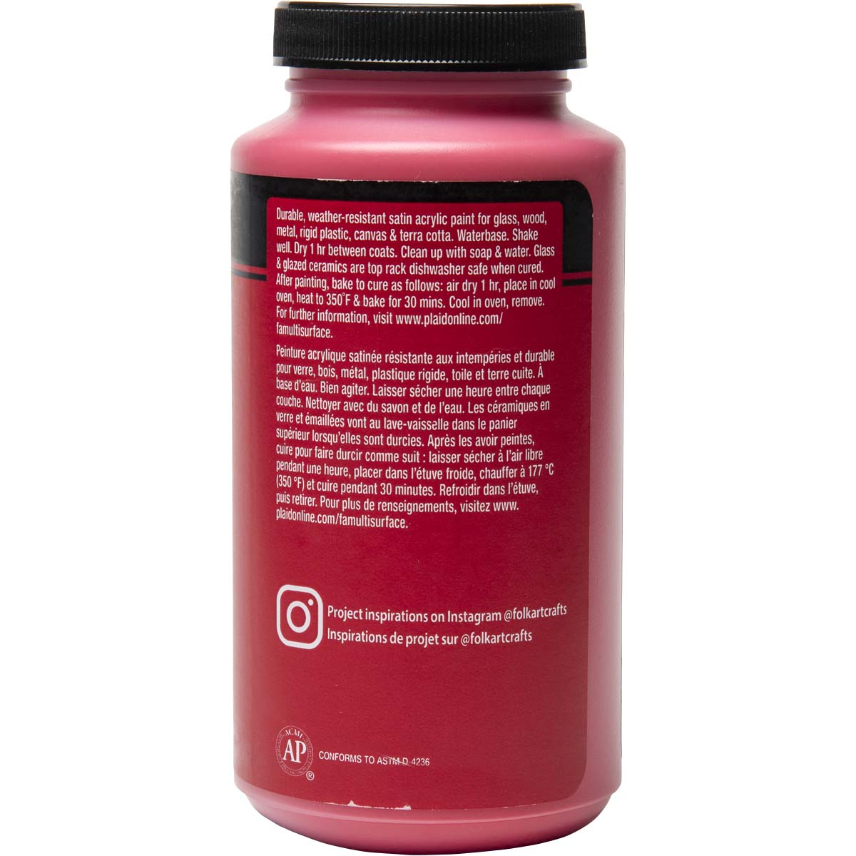 FolkArt ® Multi-Surface Satin Acrylic Paints - Apple Red, 16 oz.